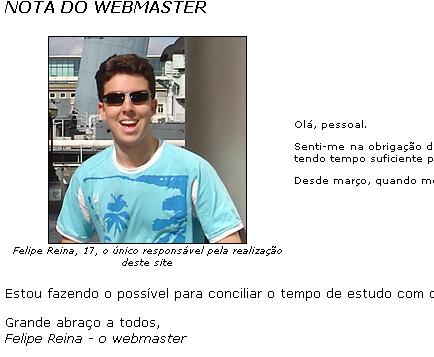Nota do webmaster publicada em 2007