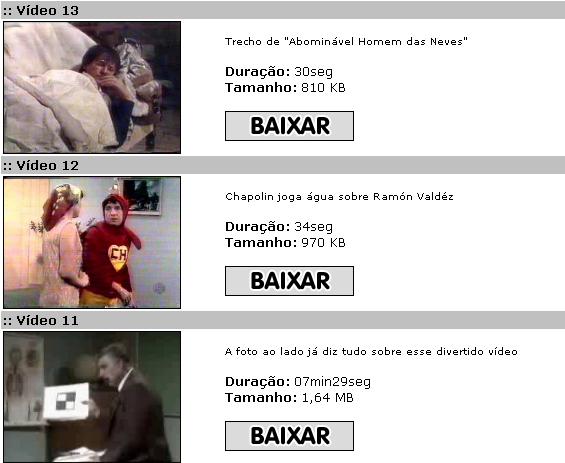 A maioria dos vídeos para downloads na época eram trechos, e não episódios completos