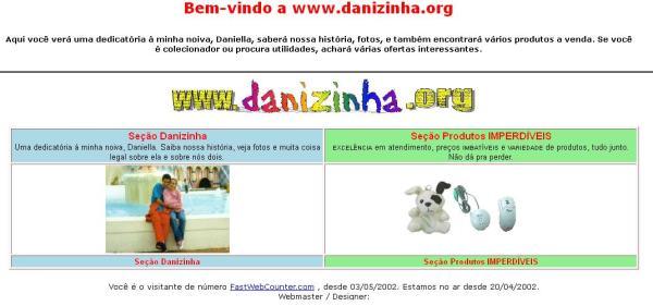 Site Danizinha.org em 2002 (duas versões), antes de ser sobre Chespirito (clique na imagem para ampliar)