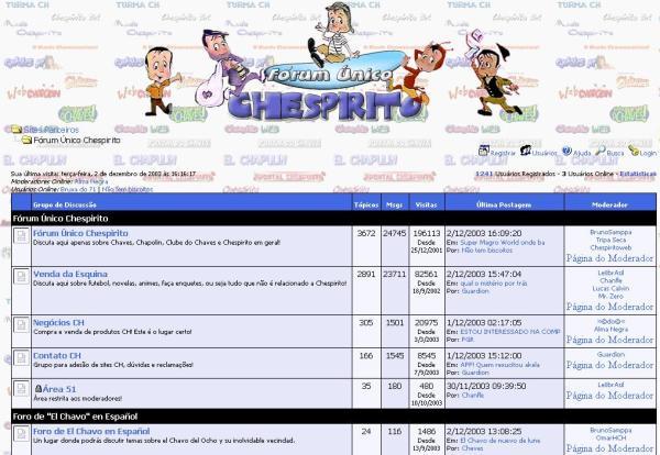 """Primeira página do FUCH no final de 2003, onde o sub-fórum """"Área 51"""", embora apenas para a staff, era visível na lista de sub-fóruns (Clique na imagem para ampliar)."""