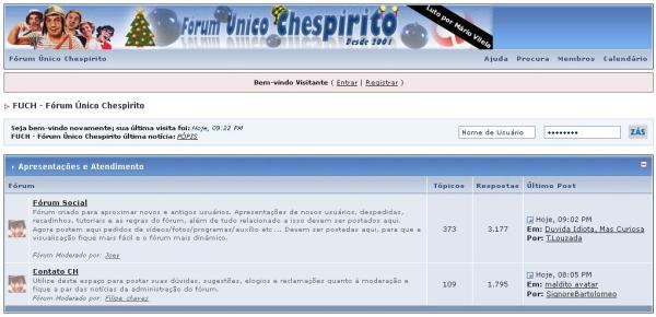 Variação no topo do fórum em 2005, em motivo do Natal e do luto por Mário Vilela (clique na imagem para ampliar)