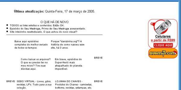 """Em 2005, conteúdos sobre Chespirito começavam a """"se misturar"""" com os demais (clique na imagem para ampliar)"""