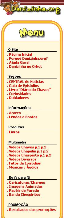 Menu do site em 2006