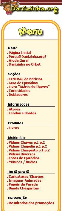 Menu do site em 2006