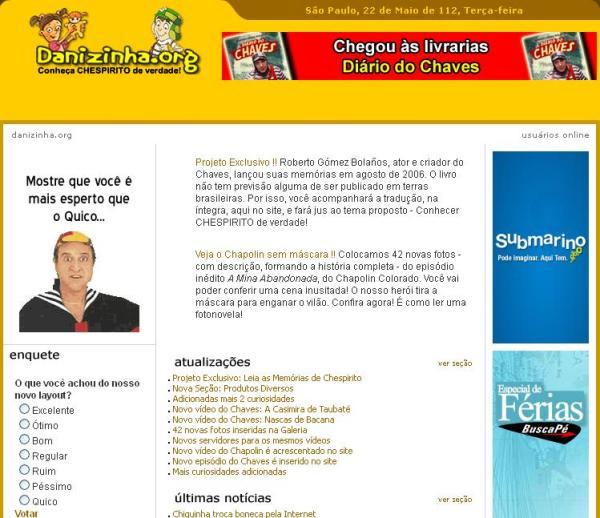 Danizinha.org no final de 2007, com novo layout e apenas sobre Chespirito (clique na imagem para ampliar)