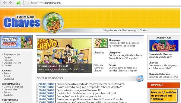 A partir de outubro de 2008, o domínio danizinha.org passou a redirecionar para o site Turma do Chaves (clique na imagem para ampliar)