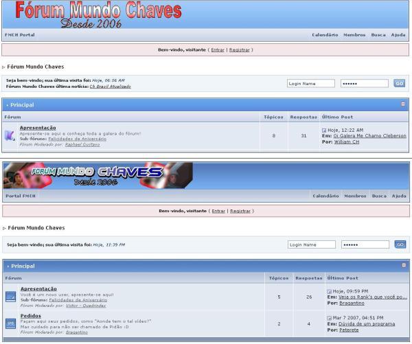 Fórum Mundo Chaves, com duas imagens que foram utilizadas como topo (clique na imagem para ampliar)