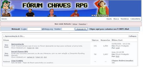 Fórum Chaves RPG em 2007 (corte superior) e 2008 (corte inferior) - clique na imagem para ampliar