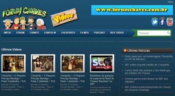 Página de vídeos do Fórum Chaves (clique para acessar)