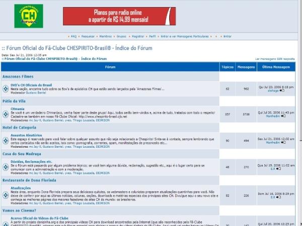 Antigo fórum oficial do fã-clube Chespirito Brasil (clique na imagem para ampliar)