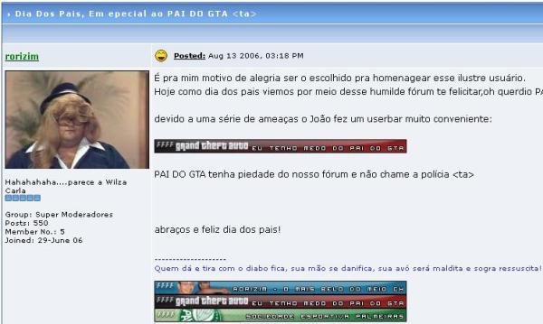 """Tópico do Fórum Feio, Forte e Formal, de 2006, citando o """"pai do GTA"""" (clique na imagem para ampliar)"""
