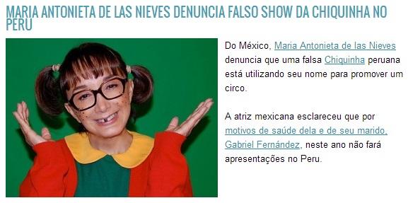 falso show da Chiquinha no Peru