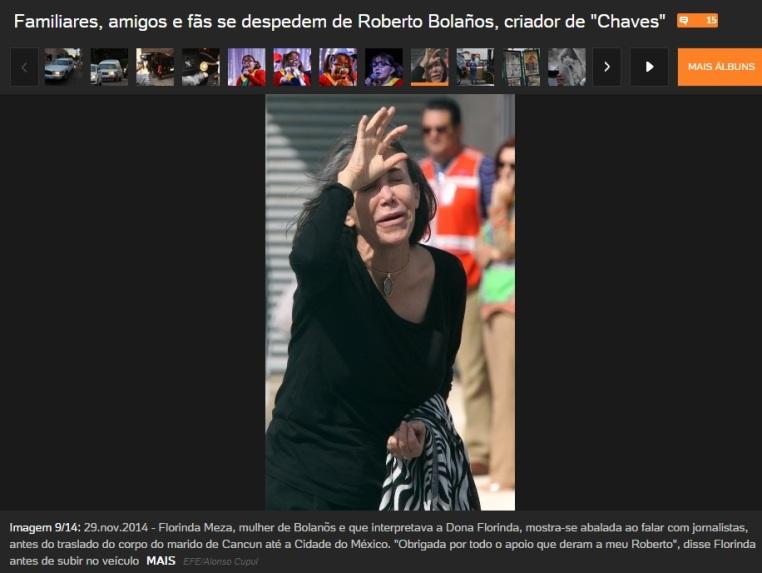 familiares, amigos e fãs se despedem de Roberto Bolaños Chespirito Florinda Meza meu Roberto - reprodução UOL