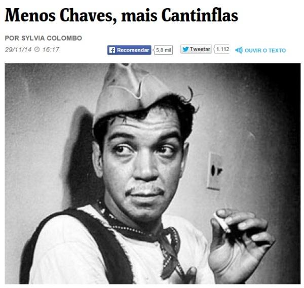 Menos Chaves, mais Cantinflas - reprodução - reporter sylvia colombo detona chespirito chaves