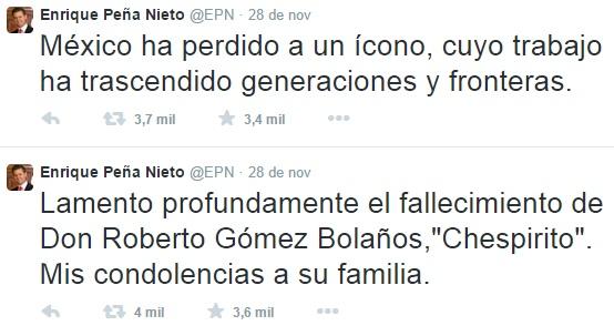 Twitter - Enrique Peña Nieto, presidente do México fala sobre falecimento de Roberto Bolaños Chespirito