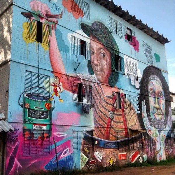arte na rua - Chaves e Chapolin pintados em muro de prédio em Porto Alegre Rio Grande do Sul RS grafite pintura CH - Fórum Chaves