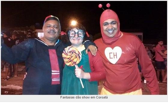 Carnaval 2015 Chaves Chespirito Chapolin homenagens - Quico Chiquinha e Chapolin fantasiados no carnaval de Coroatá-Maranhão-Brasil - imagem reproducao