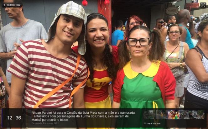 G1 Rio de Janeiro - Carnaval - bloco de rua Cordão da Bola Preta - fantasias de Chiquinha Chaves Chapolin - imagem reprodução