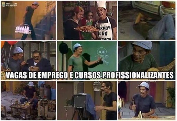 Prefeitura de Belo Horizonte usa atividades do Seu Madruga para anunciar ofertas de emprego - imagem retirada do Facebook Prefeitura BH