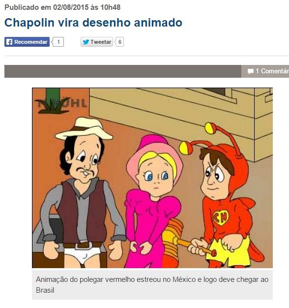 Blog da Keila Jimenez erra foto do desenho animado do Chapolin - chamada