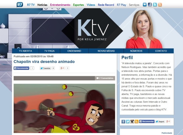 Blog da Keila Jimenez erra foto do desenho animado do Chapolin - corrigida