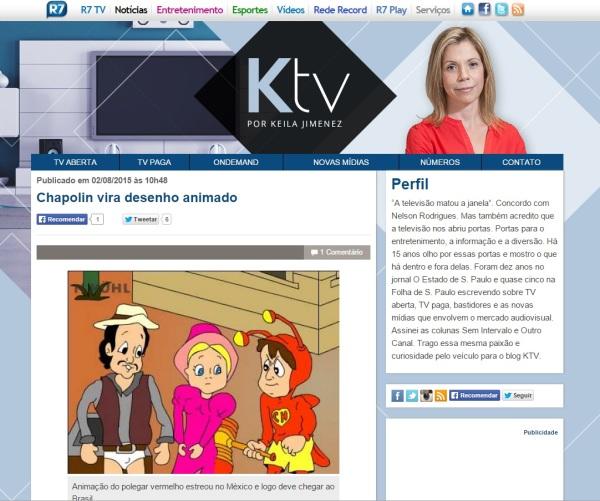 Blog da Keila Jimenez erra foto do desenho animado do Chapolin - errada