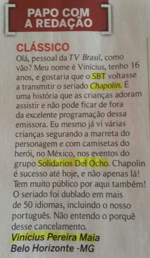 revista TV Brasil carta volta chapolin 2015 leitor pede volta do Chapolin no SBT - imagem reproducao