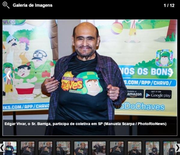 Edgar Vivar, o Sr. Barriga, participa de coletiva em SP - imagem reprodução Caras