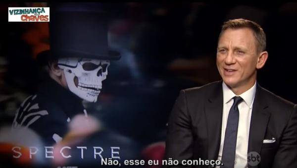 The Noite Danilo Gentilo SBT Léo Lins perguntou a Daniel Craig, o 007, sobre Chapolin Colorado - Vizinhança do Chaves - imagem reprodução