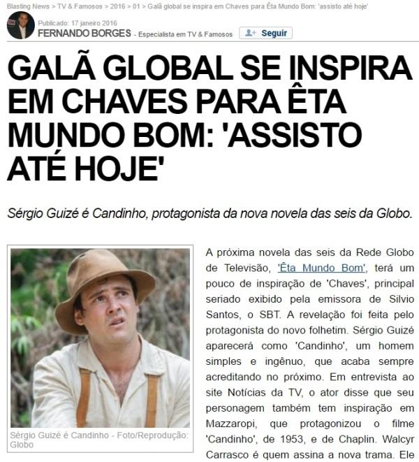 Sérgio Guizé Globo Êta mundo bom se inspira em Chaves - imagem reprodução Blasting News
