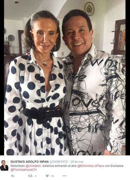 Gustavo Adolfo Intante e Florinda Meza - Dona Florinda - Univision - México - entrevista casa de Cancún Chespirito - imagem reprodução Twitter