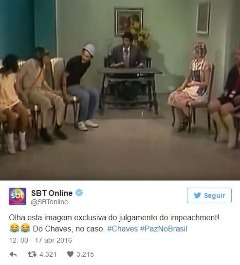 O julgamento do Chaves - Julgamento do impeachment de Dilma - reprodução Twitter SBTOnline