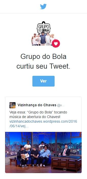 Post do Vizinhança do Chaves foi curtido pelo Grupo do Bola