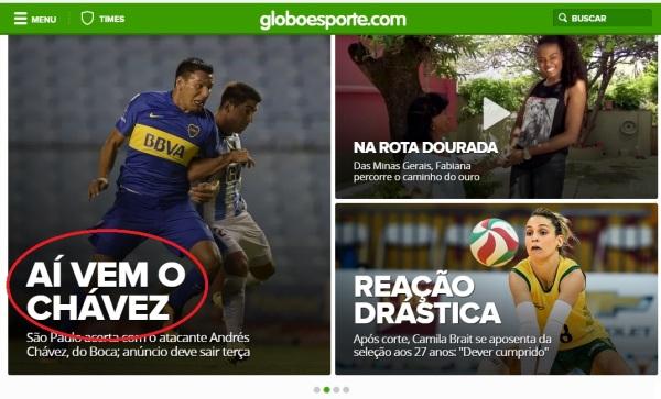 Site Globo Esporte faz referência a Chaves