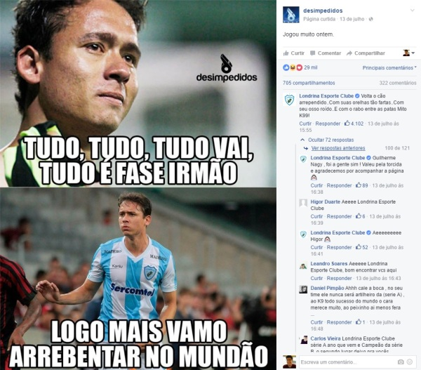 Time de futebol recita O cão arrependido - imagem reprodução Facebook